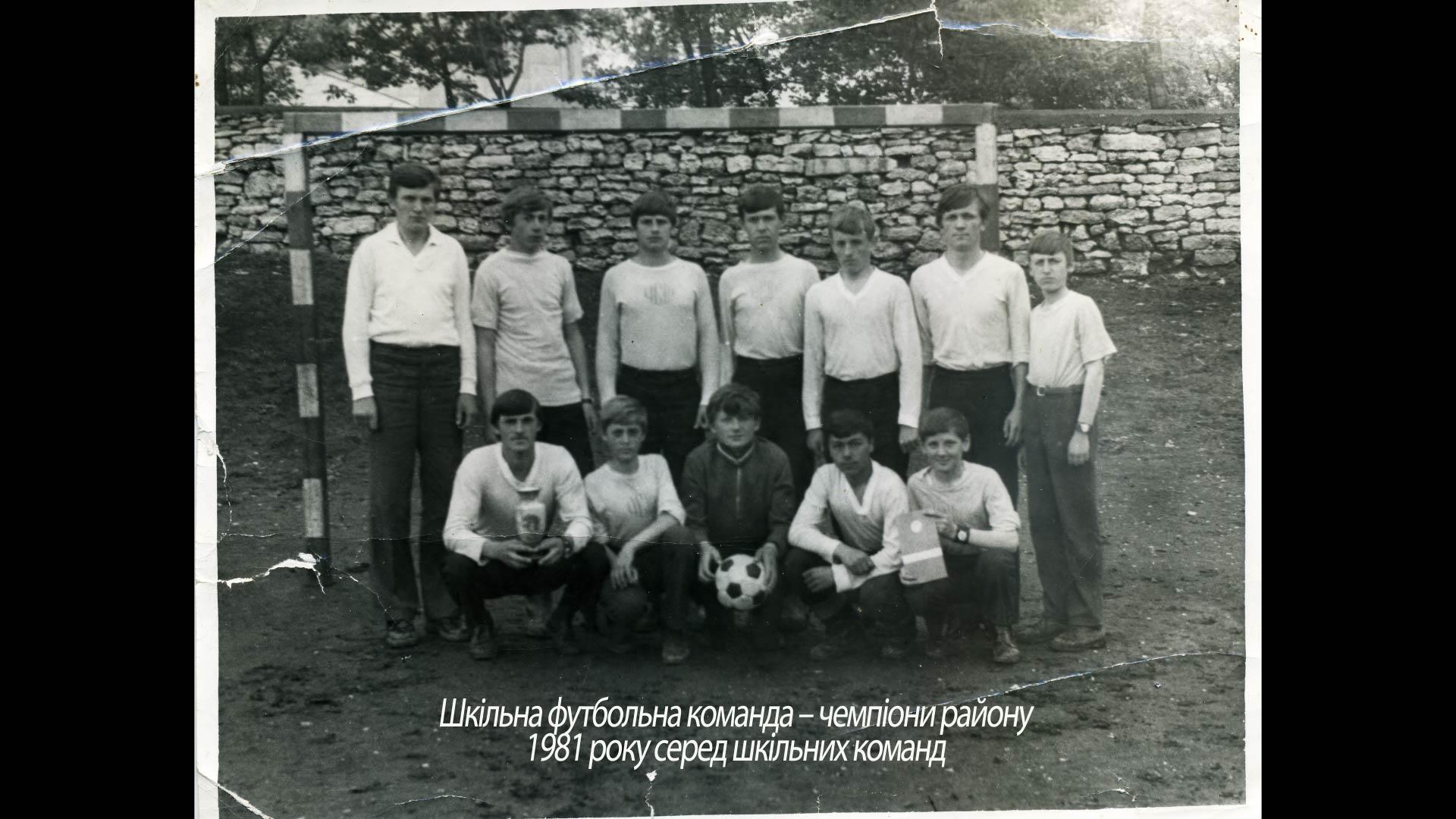 Шкільна футбольна команда – чемпіони району 1981 року
